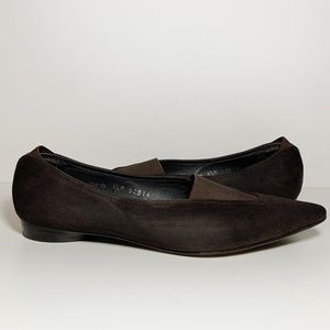 Brown Suede Pointed Toe Flats Slip Ons